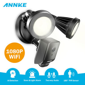 ANNKE Wireless 1080P HD Floodlight AI Security Camera 2MP WIFI Siren Light Alarm