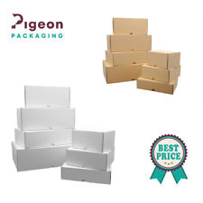 More details for cardboard boxes white & brown small parcel royal mail double-wall folding lid