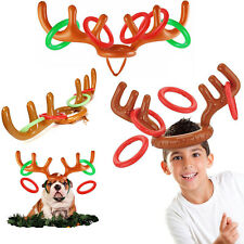 Inflatable Reindeer Christmas Hat Antler Ring Toss Holiday Party Game Xmas Toy