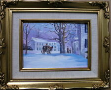 """Framed Oil Painting """"Walking with Mom in a snowy season"""" 9x11 inches"""