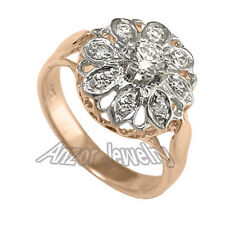 Gold Diamond Ring ize 4 to 9.5 Russian Style 14k Solid Rose & White