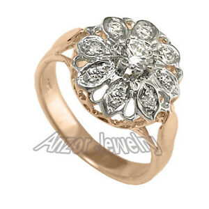Russian Style 14k Solid Rose & White Gold Diamond Ring ize 4 to 9.5