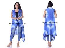 f46dd1bb2866 Indian Kimono Tie Dye Shibori Blue Shrug Women's Dress Cardigan With Pom  Lace