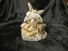 "Russ Berrie Stuffed Rabbit With Beautiful Dress, Hat, and Purse, Approx 7"" Tall"