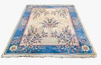 1930's Old Large Lite BLUE PINK Floral Oriental Area Rug Handmade Carpet 7 x 10