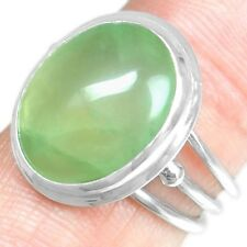 Fine 5.83 Grams 925 Sterling Silver Natural Hand Made Prehnite 7 US Ring Jewelry