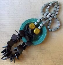 Opera Length Grey Gold & Brown Wooden Bead Women's Necklace