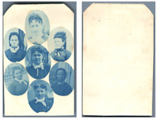 mosaique cyanotype CDV vintage albumen carte de visite,  Tirage albuminé  6,