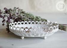 Schale Ablage Tablett weiß Metall Deko Landhaus Shabby Antik French Chic Antique