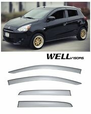 WellVisors For 14-18 Mitsubishi Mirage SMOKE TINTED Side Window Visor Rain Guard