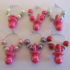 SET OF 6 BABY GIRL SHOWER WINE GLASS RINGS CHARMS DUMMIES