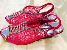 Size 1 Girls Kids Indian Bollywood Fancy Shoes Heels Slip On Sandals Pink