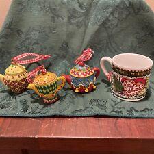 Mary Engelbreit Mini Teapot Christmas Ornaments set of 3 Plus For Santa Cup