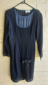 VINTAGE Valentino Miss V Black Silk Blend Dress Made in Italy Size 8 or 42