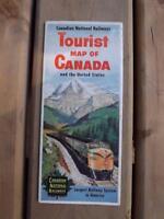 CANADIAN NATIONAL RAILWAYS TOURIST MAP CANADA & UNITED STATES TRAIN TRAVEL 1952