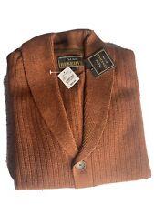 Jos A Bank Reserve Mens Medium Brown Wool Blend Button Cardigan Knit Sweater