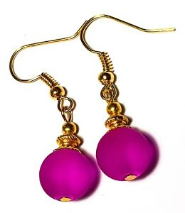 Short Gold Cerise Pink Earrings Frosted Glass Bead Drop Dangle Classy Chic Prom