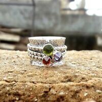 Peridot Solid 925 Sterling Silver Spinner Ring Meditation statement Ring SR221