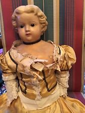 Antique Molded Hair Wax Head over papier-mache Doll Original Clothes Approx 28�