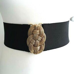 Black vtg Style Stretchy Gold Tone Twist 1980s 80s style Retro Glam Belt Sz M