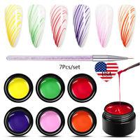 MEET ACROSS 7Pcs/Set Spider Painting UV Gel Nail Polish Varnish Pen Tool Kit US
