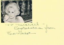 "Eva Gabor 1919-95 genuine autograph signed 4""x6"" card w. magazine picture"