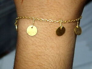 Beautiful Orbit Bracelet,14kGold Chain Coin Bracelet Mini Coin & Dainty Bracelet