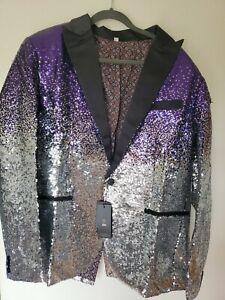 Men's Large Shiny Purple Sequins Suit Jacket Blazer Formal Cocktail Party