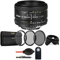 Nikon AF FX NIKKOR 50mm f/1.8D Prime Lens + 52mm Premium Accessory Kit