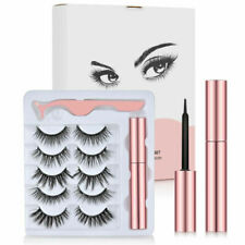 UK Waterproof Magnetic 5 Pairs Eyelashes + Eyeliner + Tweezer Long Lashes Set