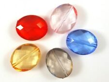 20 Large Acrylic Faceted Puffed Oval Beads 24mm - Mixed 5 Colours - UK Seller