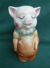 VINTAGE CERAMIC PIG IN BOW TIE SWINE FARM ANIMAL FIGURAL MONEY COIN BANK
