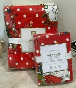 Pottery Barn Teen Christmas festive Grinch dot red flannel TWIN duvet cover SHAM