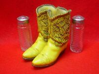VINTAGE WESTERN COWBOY BOOTS SALT & PEPPER SHAKER DECORATIVE DISPLAY HOLDER