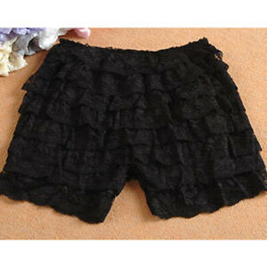 Women Lace Tiered Shorts Safety Bottoming Under Pants Short Leggings Hot Pants
