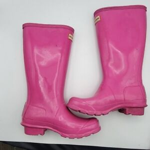 Original Kids Gloss Hunter Boots In Lipstick Pink Size Youth 2
