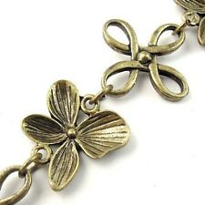 1M Antiqued Bronze Flower Clover Knot Anklets Handmade Alloy Jewelry Chains