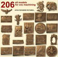 3d stl models 206 pcs set for CNC Router Artcam Aspire
