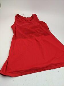 Lululemon Red Stretch Workout Shirt With Sports Bra Linner Sz 8