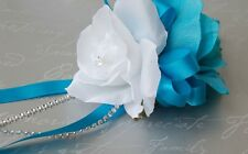 Wrist Corsage : White Malibu (Turquoise) with bling Silk flower