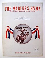 1942 The Marines Hymn Sheet Music Nice Cover for Framing