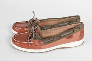 Women's Sperry Top-Sider Boat Shoe Brown  and green size 12