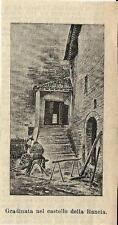 Stampa antica TOLENTINO Castello della Rancia scala Macerata 1888 Antique print