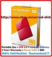 "Western Digital WD 3TB My Passport Portable External Hard Drive 2.5"" Inch (RED)"