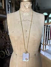 """ALEXIS BITTAR Gold Tone White Silver Lucite LONG Necklace - 36""""+"""