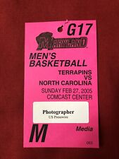 University Of Maryland Men's Basketball Vs UNC 2005 Photo Credential