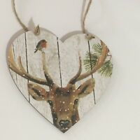 Handmade Decoupaged large wooden hanging heart Deer/Stag Christmas decoration