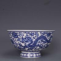 Chinese Blue and White Porcelain Qing Qianlong Dragon Design Bowl 5.2 inch