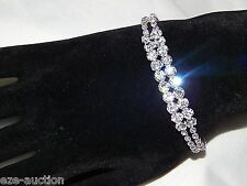 WEDDING BRIDAL 2 ROW SILVER CLEAR RHINESTONE CRYSTAL FLEXIBLE BRACELET CUFF