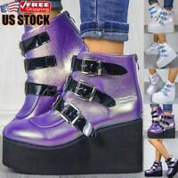 Women's Casual Ankle Platform Goth Punk Retro Boots Ladies Buckle Zip Up Shoes